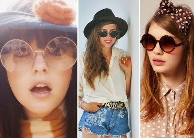 Como usar óculos de sol redondo