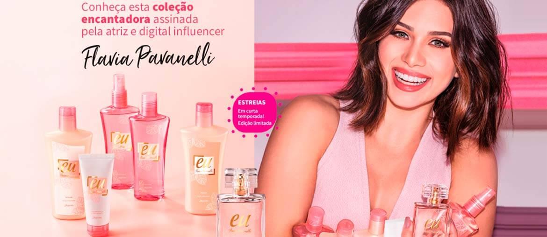 Flavia Pavanelli assina sua primeira coleção de cuidados diários e perfume com a Jequiti